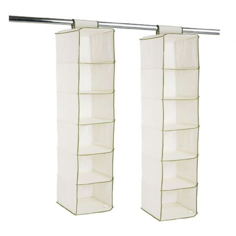 Two Cream 6 Shelf Hanging Wardrobe Organisers